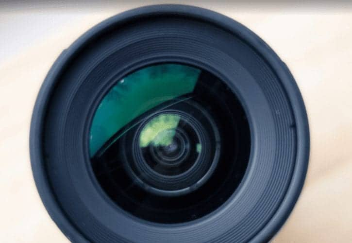 the front of a camera lens